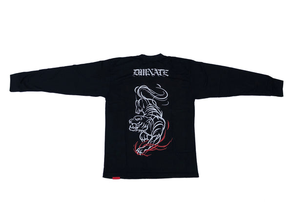 "Black Long Sleeve Shirt 'KING OF THE JUNGLE"" is a part of our limited Fall Collection drop. All items in this drop will not be restocked. This long-sleeve features print on the front and back. 100% Cotton"