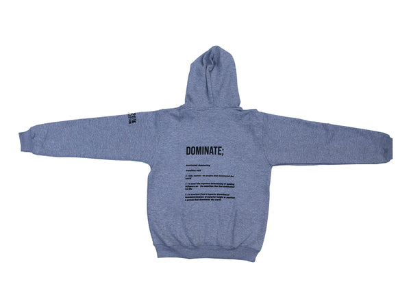 This hoodie is a part of our limited Fall Collection drop. All items in this drop will not be restocked. DOMINATE DEFINITION HOODIE features embroidered writing on the front and sleeve as well as print on the back. BLACK ON GREY.100% Cotton Made in Pakistan