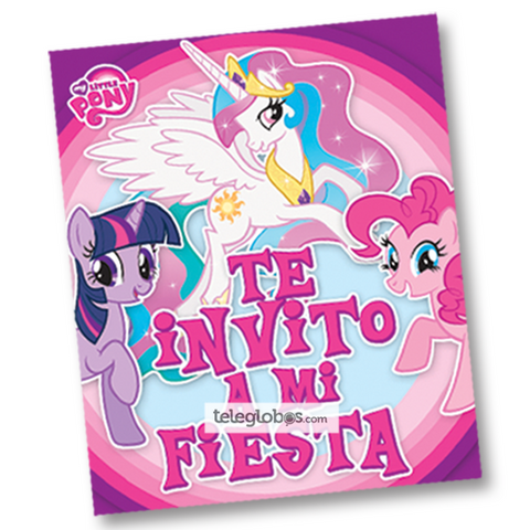 6 Invitaciones de My Little Pony