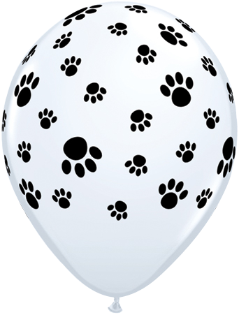 10 x Globos Látex 11 Huellas De Patitas A R Blanco Qualatex