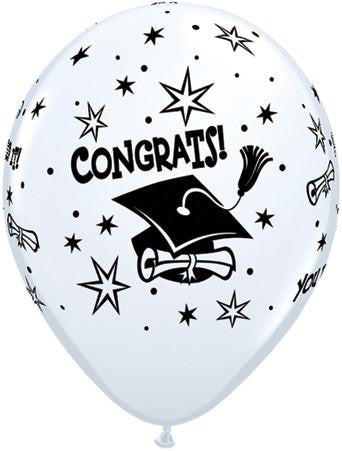 10 x Globos Látex 11 Blanco Congratulations Gorro Qualatex