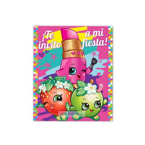 6 Invitaciones de Shopkins