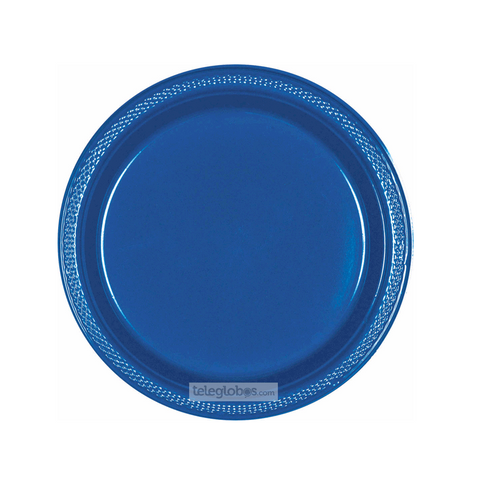 20 Platos Plastico Redondo Everyday Solidos Azul Rey