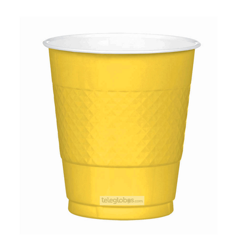 20 Vasos de Plastico Everyday Solidos Amarillo Brillante