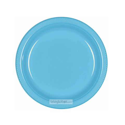 20 Platos Plastico Redondo Everyday Solidos Azul Caribe