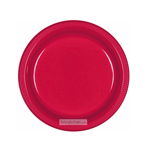 20 Platos Plastico Redondo Everyday Solidos Rojo