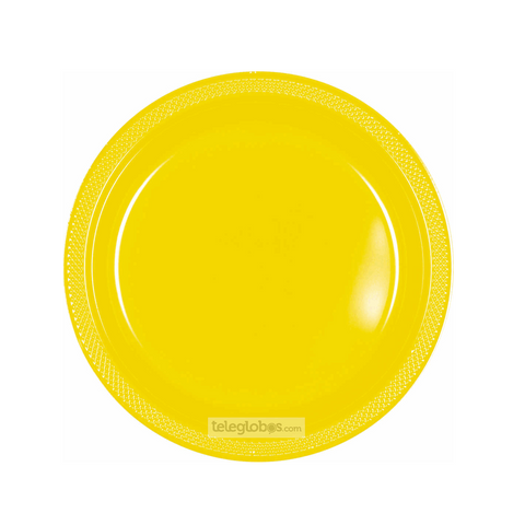 20 Platos Plastico Redondo Everyday Solidos Amarillo Brillante