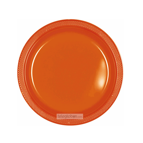 20 Platos Plastico Redondo Everyday Solidos Naranja