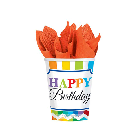 8 Vasos de Carton Bright Birthday