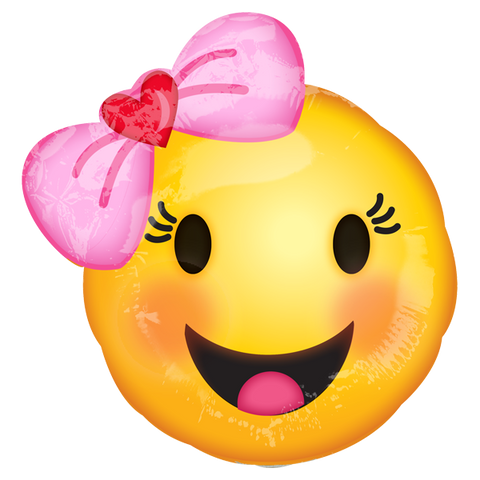 Happy Emoticons With Bow MiniSh Pulgadas Globo Metálico