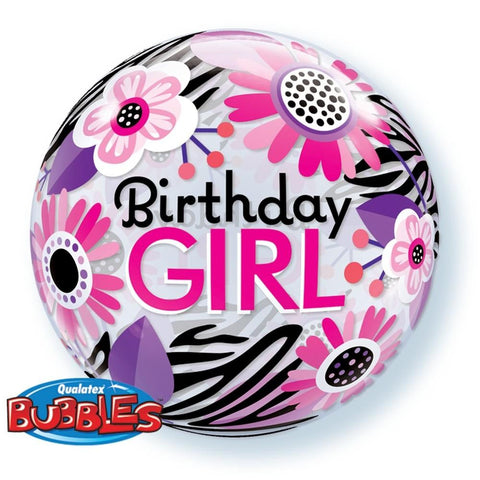 "Globo Burbuja Sencilla de 22"" Birthday Girl Cebra y Flores Qualatex"