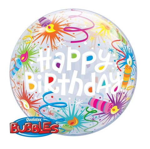 "Globo Burbuja Sencilla de 22"" Birthday Velas Divertidas Qualatex"