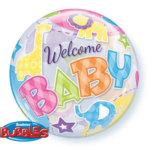 "Globo Burbuja Sencilla de 22"" Welcome Baby Figuras Animales Qualatex"