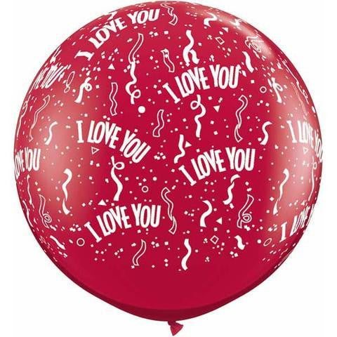 2 x Globos Látex I Love You Serpentinas 3 Pies Qualatex