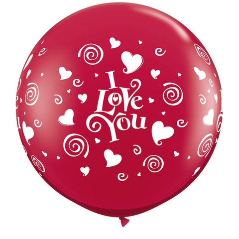 2 x Globos Látex I Love You Corazones y Espirales 3 Pies Qualatex