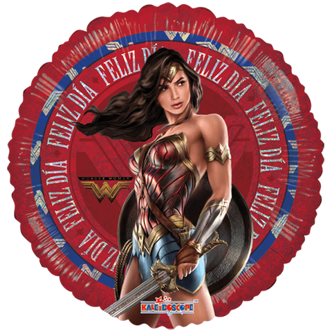 "Wonder Woman Movie Feliz Día 18"" Globo Metálico Holográfico"
