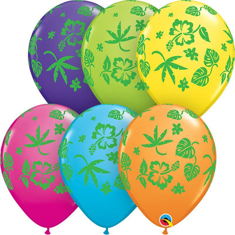 "10 x Globo 11"" Impreso Qualatex Flora Tropical (Surt Tropical 6C) 11"""