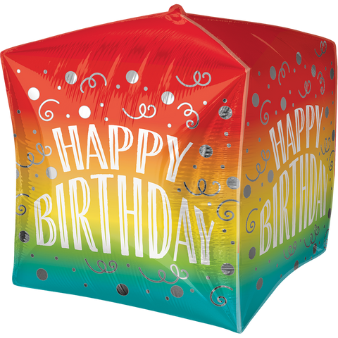 Happy Birthday Gradient Swirls UltraSh Cubez Globo Metálico