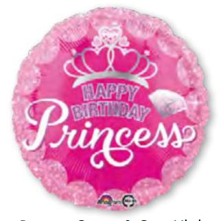 HBD Princess Crown & Gem 18 Pulgadas Globo Metálico