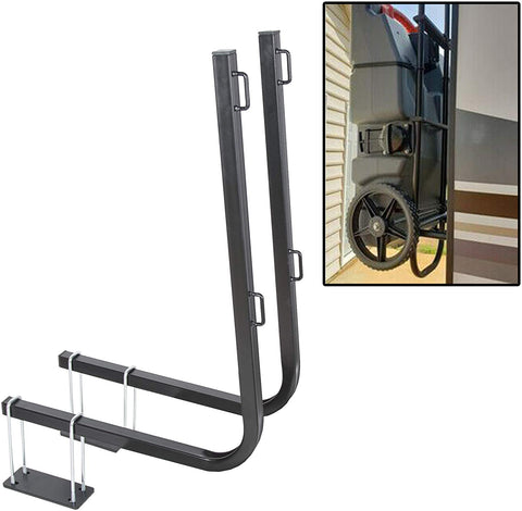 rv bumper mounted portable waste tank hold rack