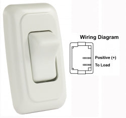 Switch Assembly Single On/off Rocker Switch With Bezel, White 3412005 *