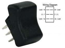 DPDT On/on Rocker Switch, Black 3613055 *