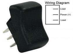 RV Single Pull Single Throw On/on Rocker Switch, Black 3613095