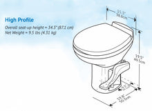 RV RESIDENCE HIGH PROFILE TOILET - BONE - w/o WATER SAVER - 1642171