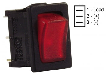 SWITCH MINI ILLUMINATED RED/BLACK 12V 1/PKG 3612765