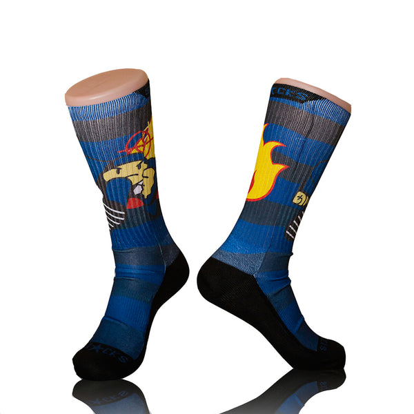 Duck Down Record Blue Socks