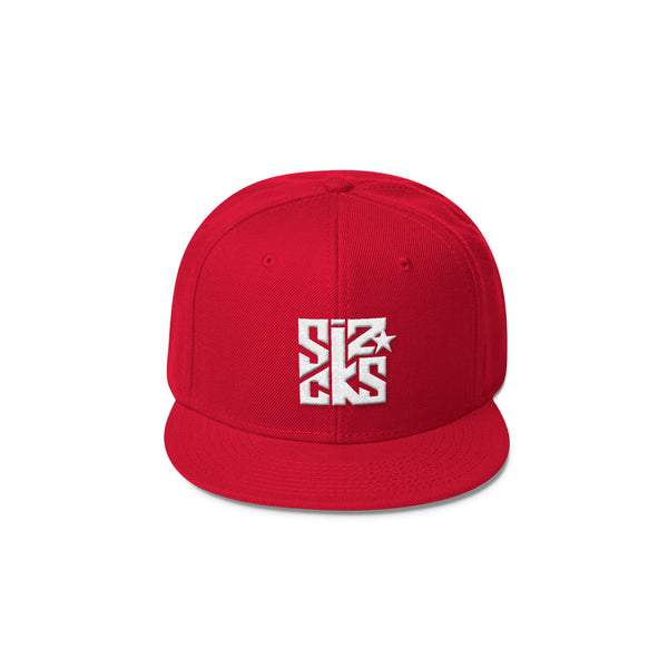Skater Sizocks Snapback Cap White on Red