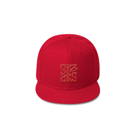 Skater Sizocks Snapback Cap Red on Red