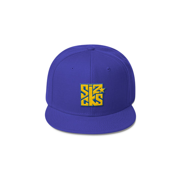Skater Sizocks Snapback Cap Yellow on Royal Purple