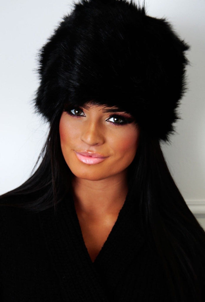 0bf3477f544 ladies faux fur russian hat cossack hat black white grey burgundy ...