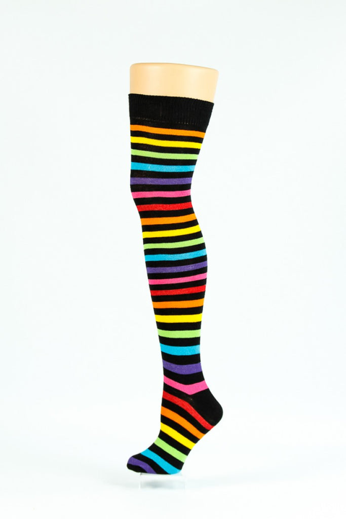 b05f5f6e5ad DESIGNER INSPIRED black and multi rainbow coloured thin striped over-the-knee  socks -