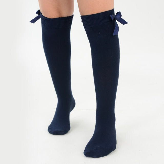 3704a3e3825 Navy Spanish Style Knee High School Socks with Bows – TINA JAYNE BOUTIQUE