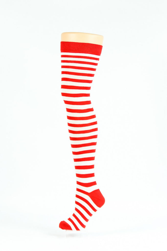 09b63f504 DESIGNER INSPIRED red and white thin striped over-the-knee socks - Socks  TINA