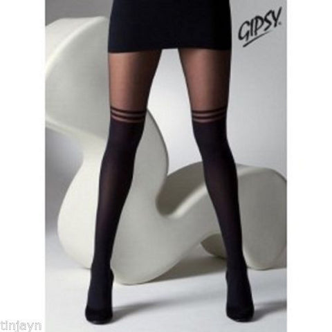 868212fa3 Gipsy Mock Suspender Tights with Double Stripe - Tights TINA JAYNE BOUTIQUE