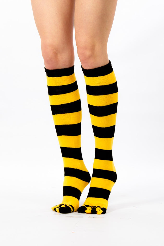 eb43828ab9c designer inspired yellow and black knee high toe fit socks - Socks TINA  JAYNE BOUTIQUE