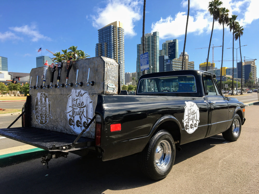 Great times with the bar by the bar. The 68 Chevy truck serves frosty beers out the back with its set up from Huntington Beach to Orange County. Search for this wedding idea!