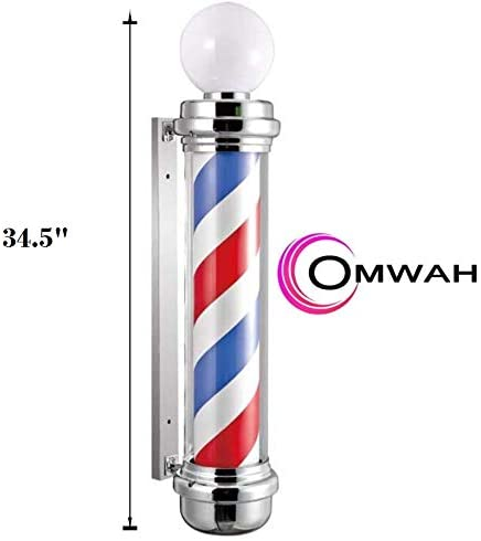 "Classic Barber Shop 34. 5"" Rotating LED Stripes Pole Light Hair Salon Open Sign Red White Blue Waterproof Indoor/Outdoor"