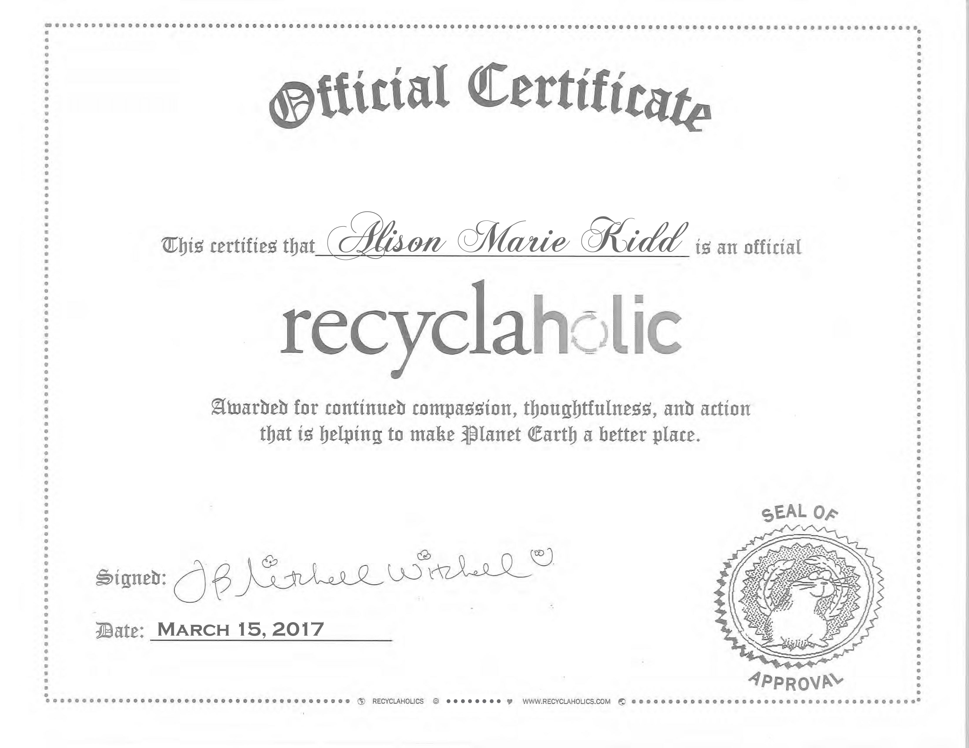 Recyclaholics Kids Certificate Recyclaholics Show Store