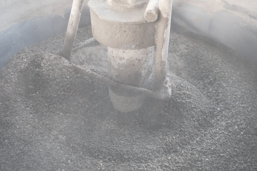 plastic sand gravel and cement mixing for eco brick