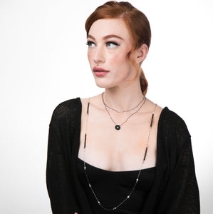 Model wearing zirconia By-The-Metre Necklace with black Semi-Precious Stone