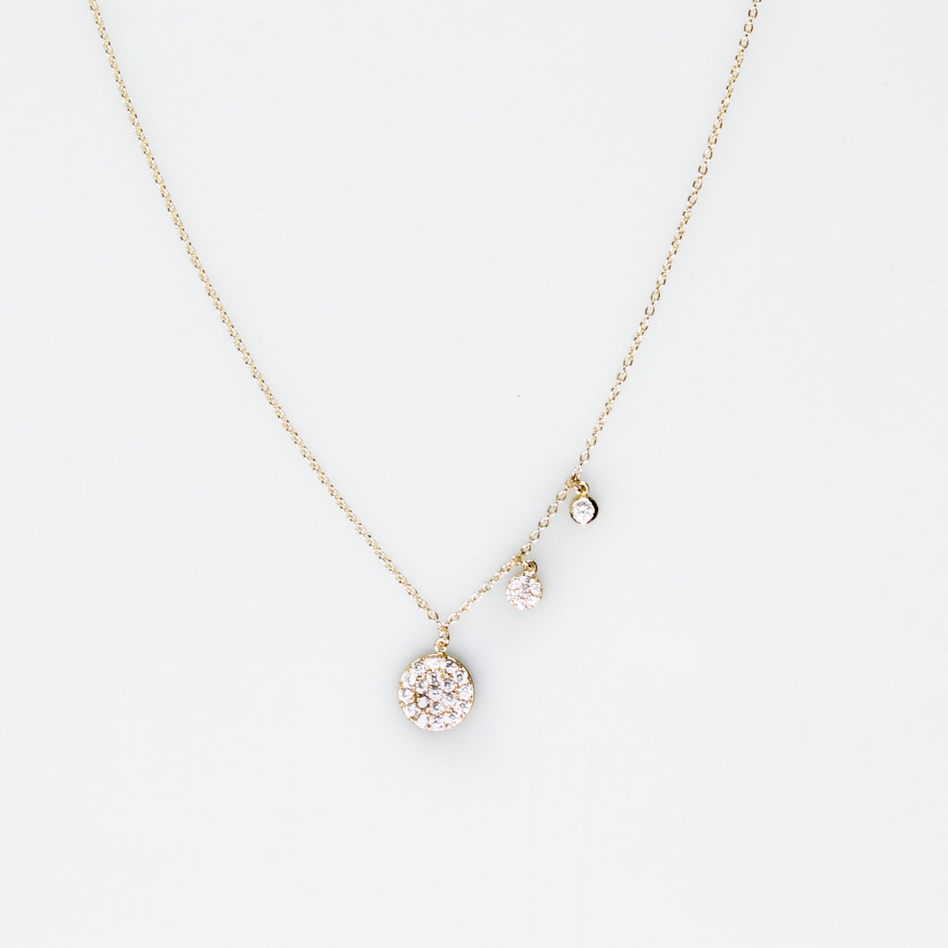 Necklace with circle drops encrusted with Cubic Zirconia in gold plated