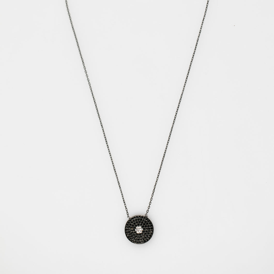 Black-Circle-Cubic-Zirconia-Necklace