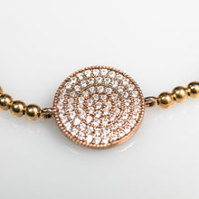Load image into Gallery viewer, Close up of paved beaded bracelet with swarovski crystals in gold plated