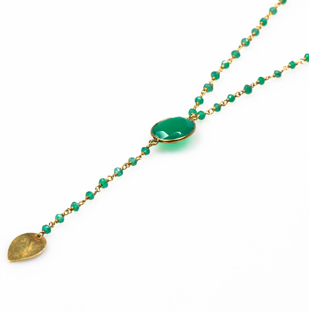 Gold plated long necklace with green semi-precious stones