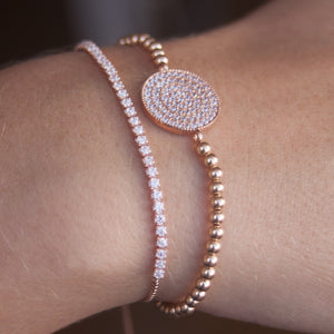 Rose gold tennis bracelet with Swarovski crystal plate layered