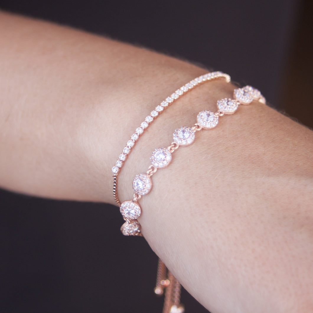 Rose gold plated flower bracelet with Cubic zirconia tennis bracelet